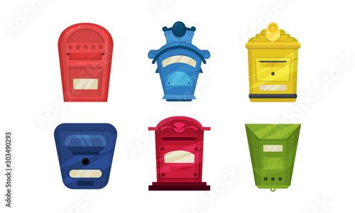 Fotografie, Obraz  Set of colorful letterboxes