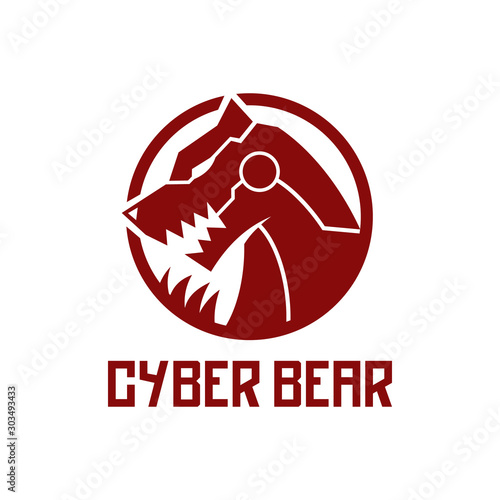 cool futuristic cyber bear with claw and fangs logo design Poster Mural XXL