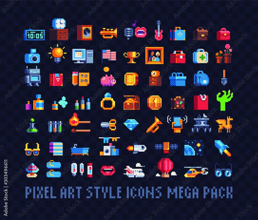 Fototapeta Mega big set of pixel art icons. Tools, music, money, bags, jewel and spaceships, Design for stickers, logo, web and mobile app. Isolated vector illustration. 8-bit sprite.