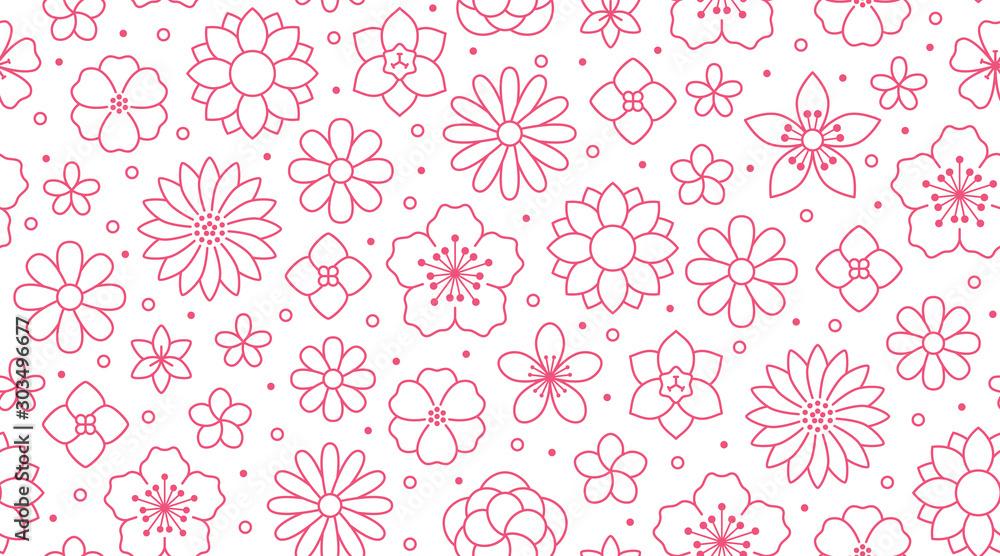 Kwiecisty bezszwowy wzór, kwiatu tło. Zarysuj kwiaty - linia rumianku, jaśminu, stokrotki. Proste białe rośliny w różowym białym kolorze <span>plik: #303496677 | autor: nadiinko</span>
