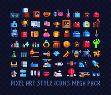 Mega Big Set Of Pixel Art Icon...