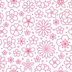 Floral seamless pattern, flower background. Outline flowers - line chamomile,...