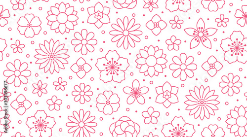 Obraz Floral seamless pattern, flower background. Outline flowers - line chamomile, jasmine, daisy. Pink white color simple summer plants - fototapety do salonu
