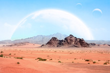 Fantastic Landscape With Sand Desert, Rock And Planets In Sky. 3d Render. Elements Of This Image Furnished By NASA