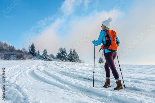 Obraz Happy woman tourist walking on the snowy trek on the peak of mou - fototapety do salonu