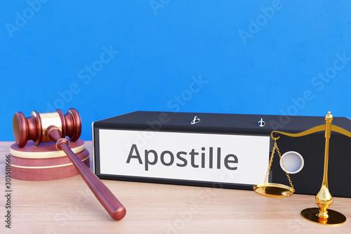 Fotomural Apostille – Folder with labeling, gavel and libra – law, judgement, lawyer