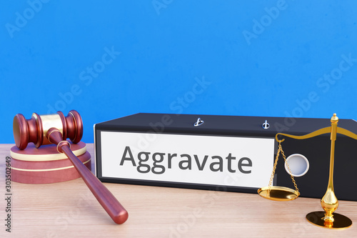 Photo Aggravate – Folder with labeling, gavel and libra – law, judgement, lawyer