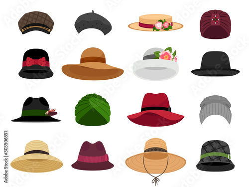 Fototapeta Female hats and caps. Woman vacation cap and hat vector illustrations, bonnet and panama, traditional lady head wearing types, fashion beret and napper accessories obraz
