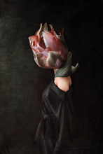 Strange Fine Art Concept. The Body Of A Woman, Her Head Is A Tulip