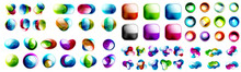Mega Collection Of Multicolored Glossy Icons: Geometric Shapes, Fluid Flowing Forms, Background And Banners Templates, Glass Transparent Buttons