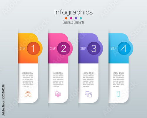 Infographics design paper art style and business icons with 4 options Canvas Print