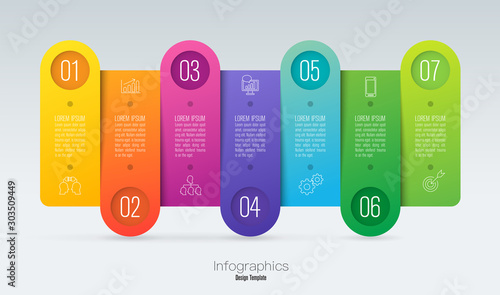 Infographics design vector and business icons with 7 options Wallpaper Mural