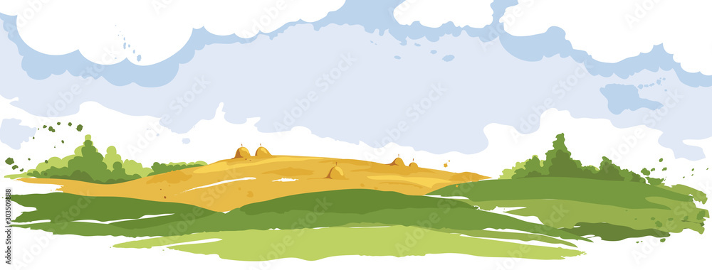 Abstract rural landscape. Watercolor illustration, wheat fields and meadows