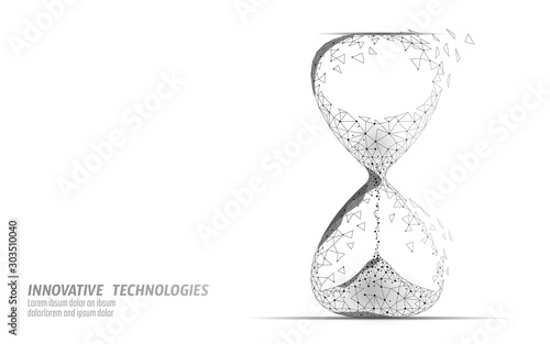Hourglass 3D low poly dark time of life concept Tablou Canvas