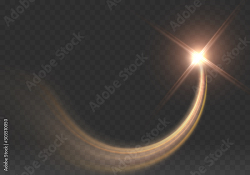 Obraz Gold star isolated on transparent background. Light glow effect sparkles wave. Vector golden sparkling comet tail. - fototapety do salonu