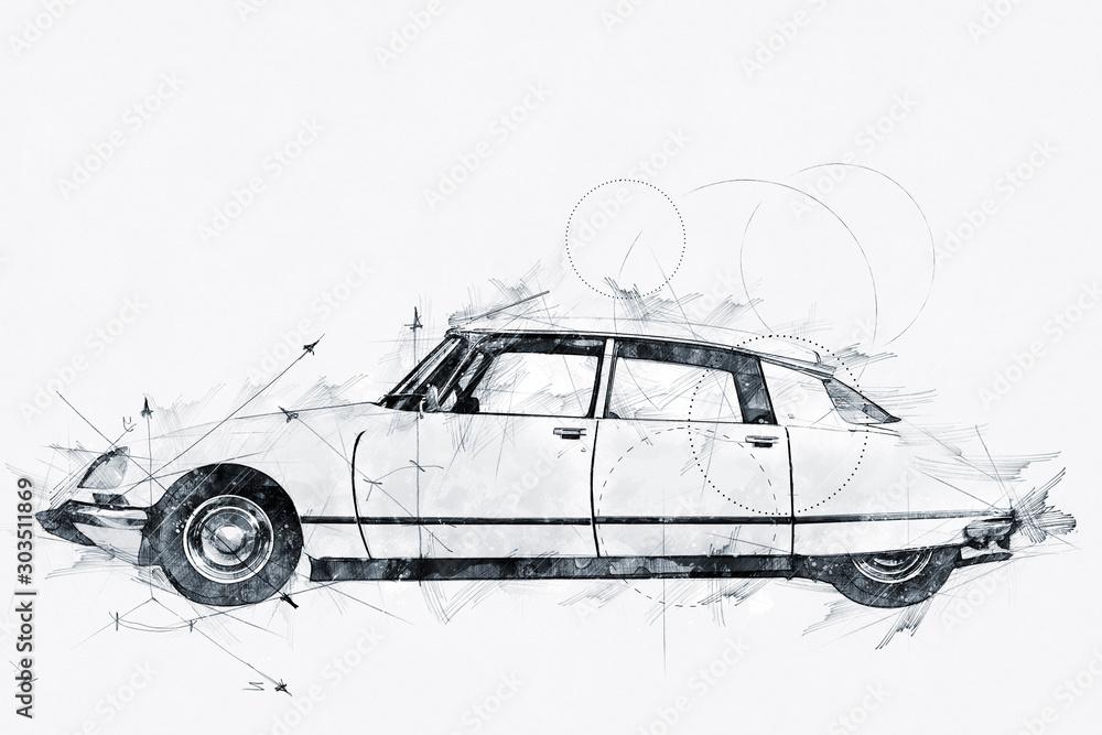Fototapety, obrazy: Illustration of a Streamlined 1968 French automobile