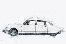 Illustration Of A Streamlined 1968 French Automobile