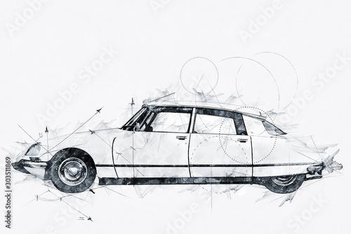 Fotografia  Illustration of a Streamlined 1968 French automobile
