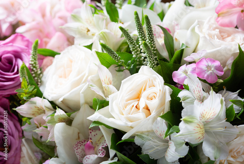 bouquet of various flowers as background #303513251
