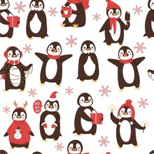 Cute Penguins Seamless Vector Pattern With Cartoon Christmas And Winter Holidays Arctic Birds And Animal S Backdrop. Illustration With Wild Animals Penguins Background.