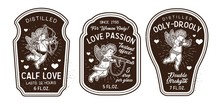 Set Of Romantic Bottle Labels For Happy Valentine S Day With Cupids. Love Potions. Valentine S Day.