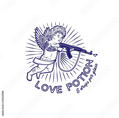 Vászonkép Cupid with Assault Rifle. Vector Illustration. Valentine s Day.