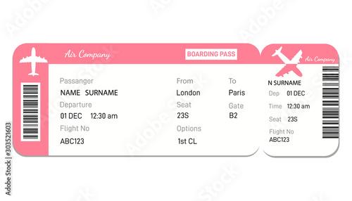 Cuadros en Lienzo  Airline boarding pass ticket