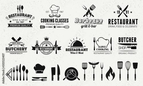 Fotomural 9 Vintage logo templates and 19 design elements for restaurant business