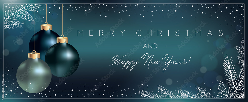Fototapety, obrazy: Christmas Blue Background with Xmas Balls decoration and Elegant Greeting Text of Winter Holidays