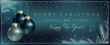 Christmas Blue Background with Xmas Balls decoration and Elegant Greeting Text of Winter Holidays