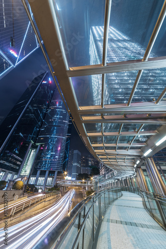 Night scene of downtown district of Hong Kong city Wallpaper Mural