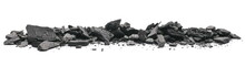 Charcoal Chunks Pile Isolated On White Background