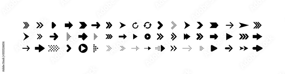 Arrows collection. Big set of Arrows Vector Icons, isolated on white background. Arrow different shapes in modern simple flat style for web design. Vector <span>plik: #303526656 | autor: smile3377</span>