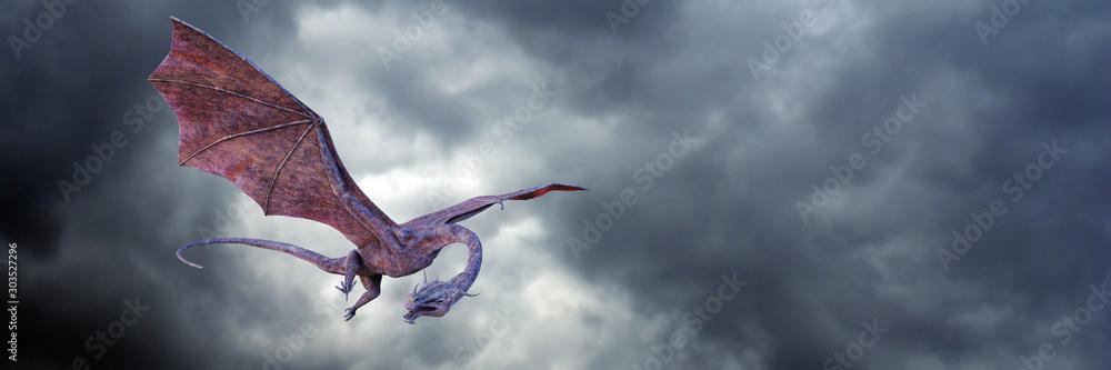 Fototapeta dragon, fantastic red fairy tale monster flying in the sky