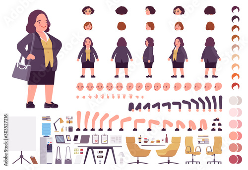 Obraz Chubby heavy kind businesswoman with round belly construction set. Overweight, plus size formal wear, fat body shape creation elements to build own design. Cartoon flat style infographic illustration - fototapety do salonu