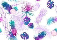 Tropical Plants And Flowers. Seamless Pattern, Background. Colored And Outline Design. Vector Illustration In Neon, Fluorescent Colors. Isolated On White Background..