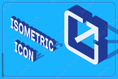 Isometric Open in new window icon isolated on blue background Canvas Print