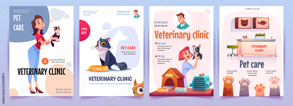 Fototapety, obrazy: Veterinary clinic banners set. Vet service, cats and dogs care, spa procedures for pets in therapeutic office, animals health care, hospital advertising poster design. Cartoon vector illustration