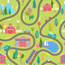 Seamless Countryside Landscape Pattern With Houses, Lake, Mountains, Trees And Cars On The Road. Farm Colorful Cartoon Background