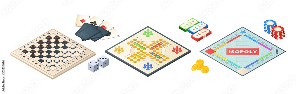 Fototapeta Board games isometric. Various tools for board games. Dices, pawns cards coins money. Vector board games elements. Illustration board game strategy, leisure and challenge
