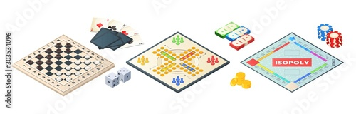 Fototapeta Board games isometric. Various tools for board games. Dices, pawns cards coins money. Vector board games elements. Illustration board game strategy, leisure and challenge obraz
