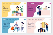 Shopping Landing Pages. Shopping Characters. People In Market Boutique Store Buyers. Flat Vector Customers With Bags Gifts Purchases Banners. Illustration Shop Market, Shopping Web Page