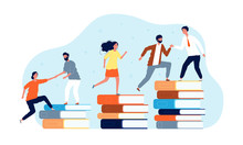 Climbing Books. Peoples In Library Going Top. Education Vector Concept. Top Book Education, Knowledge Success, Illustration Student Climb