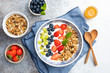 Healthy Breakfast Yogurt Bowl With Fruits. Flat Lay Composition, Table Top View. Vegetarian Clean Eating Concept