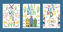Netherlands Travel Banner, Vec...