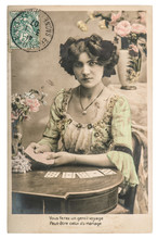 Woman Fortune Teller Cards Playing Card Game Vintage Picture