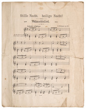 Old Music Sheet Silent Night Christmas Carol
