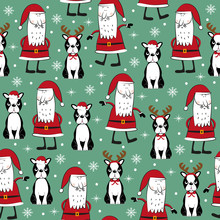 Seamless Pattern For Christmas - Cute Boston Terriesr And Santa Claus. Good For Wrapping Paper, Textile Print, Wall Paper, Poster, Card Or Decoration.