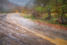 Mountain Road. Dirty Wet Road During Rains In The Mountains.