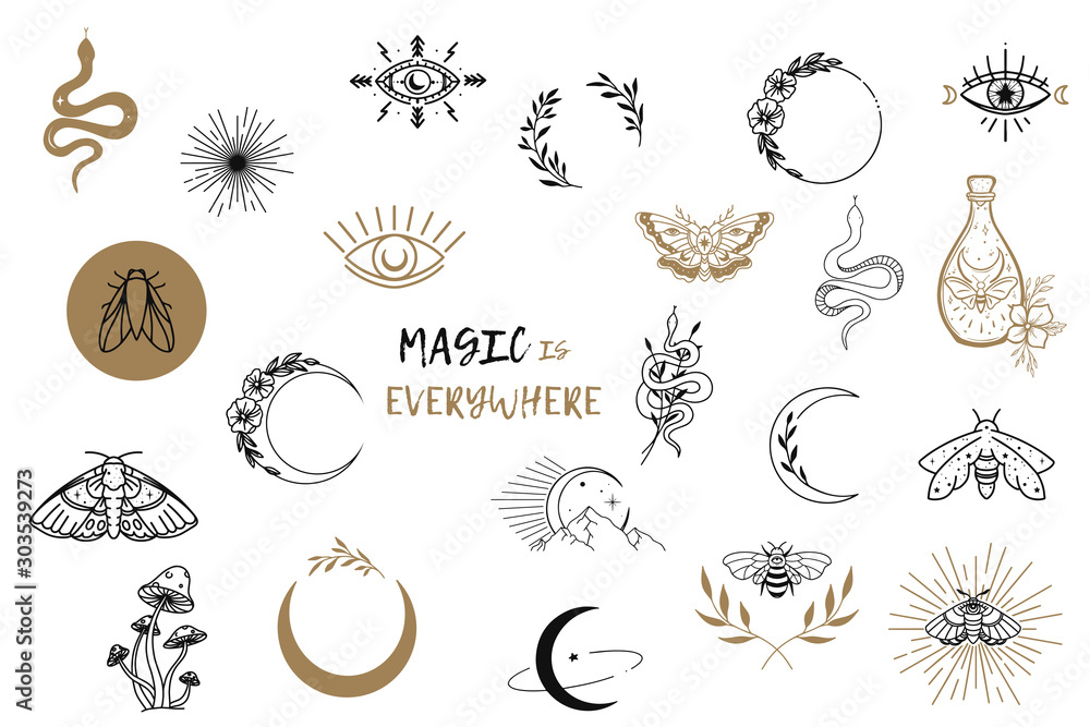 Fototapeta Vector witch magic design elements set. Hand drawn, doodle, sketch magician collection. Witchcraft symbols. Perfect for tattoo, textile, cards, mystery